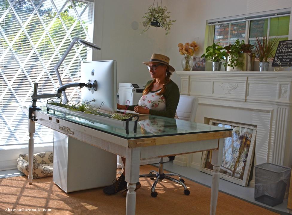 Shirley Bovshow Door Desk in her office
