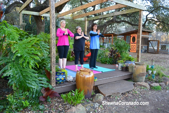 yoga on an outdoor platform for chronic inflammatory pain