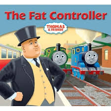 Fat Controller in front of trains