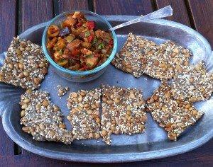 crackers-caponata-served