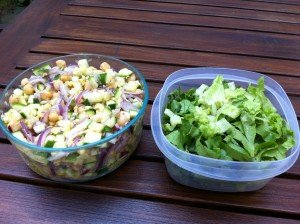 Dressed salad and sliced romaine. These two should really get together