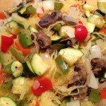 Roasted veggies mixed with spaghetti squash