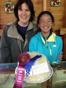 Banana cake with first prize ribbons