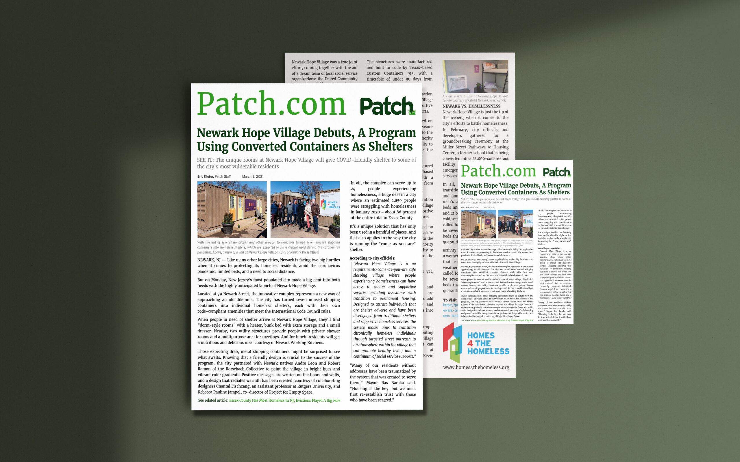 Patch.com Article 9 March 2021 by Eric Kiefer about Newark Hope Village