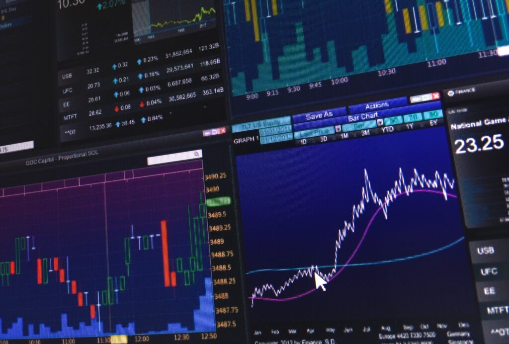 Candle stick graph charts of stock market investment analysis data