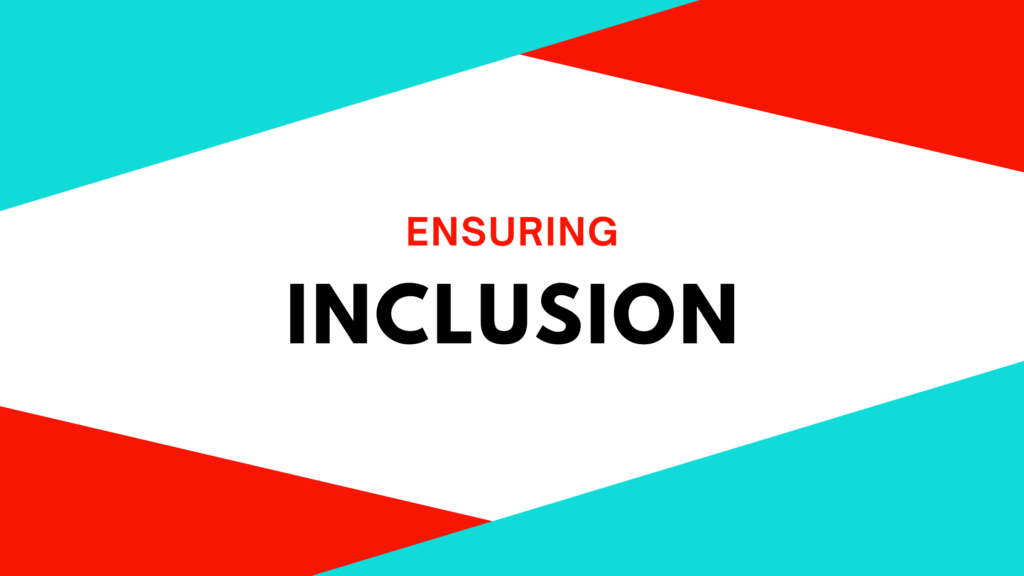 "banner with text that reads ""ensuring inclusion"""