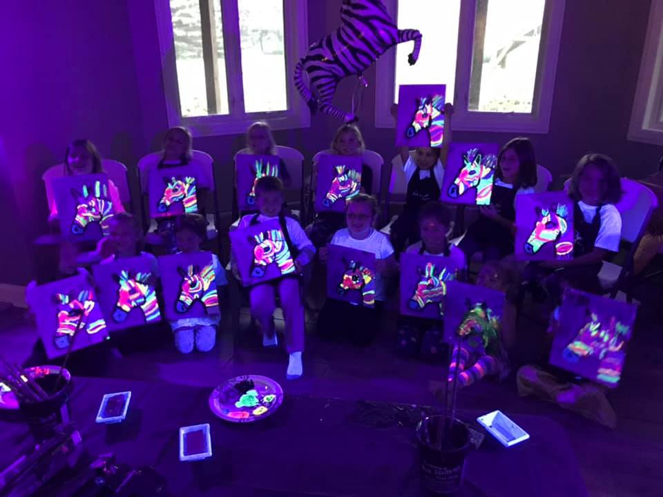 Glow in the dark paint party. Birthday party for kids.