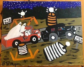 """The story of this painting as told to Larry Manning by  Miss Bernice:  She and a friend were selling insurance and nightfall came earlier than they expected. Outside of Flomaton, Alabama a car with KKK men started chasing them. The road was under construction but they kept going through the barracades. Eventually the car with the Klansmen turned off and left them alone. Miss Bernice thought they were just trying to scare her but she said, """"I wasn't scared"""" as she patted her skirt pocket  """"I had my gun!"""""""