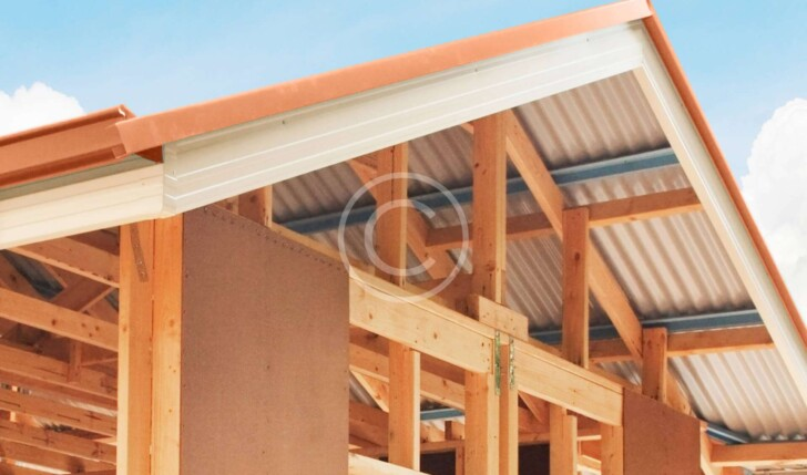 Stock photo of roof during building process