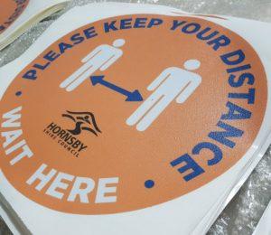 Round sticker for social distancing sticker