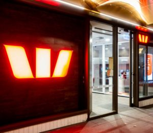 Night view of the entrance to the Westpac Bank branch