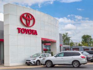 Toyota autombile dealership exterior and trademark logo