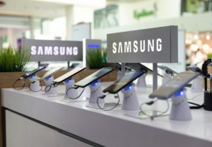 Samsung Galaxy Smartphones are shown on display in electronic store