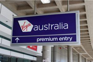 Virgin Australia logo with Premium Entry signage