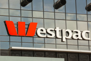 Westpac signage on a glass building