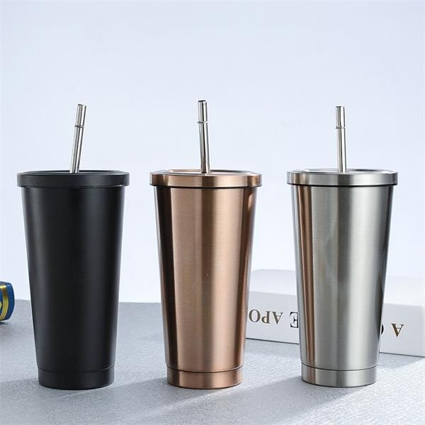 Stainless Steel cups with straw