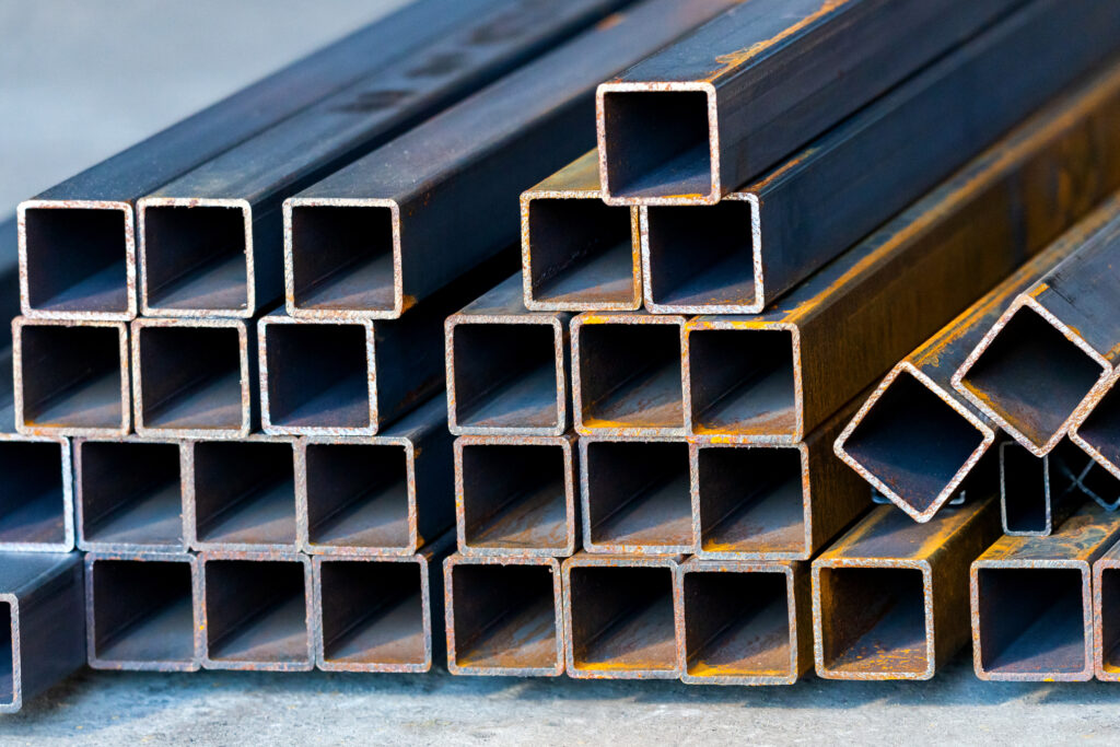 Square high carbon metal tube background for heavy industry