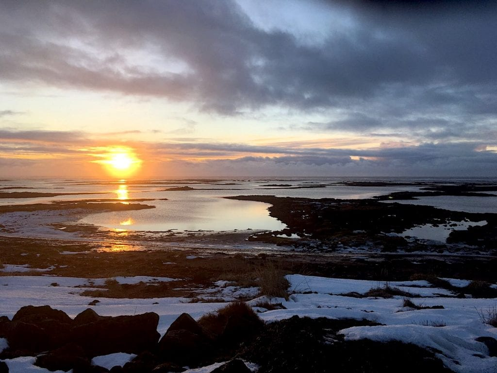 Sunrise above the ocean in Iceland