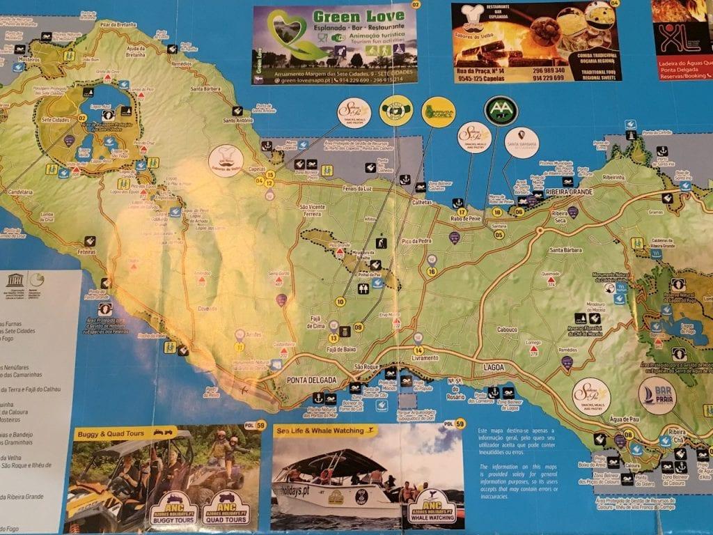 Map Sao Miguel, Azores