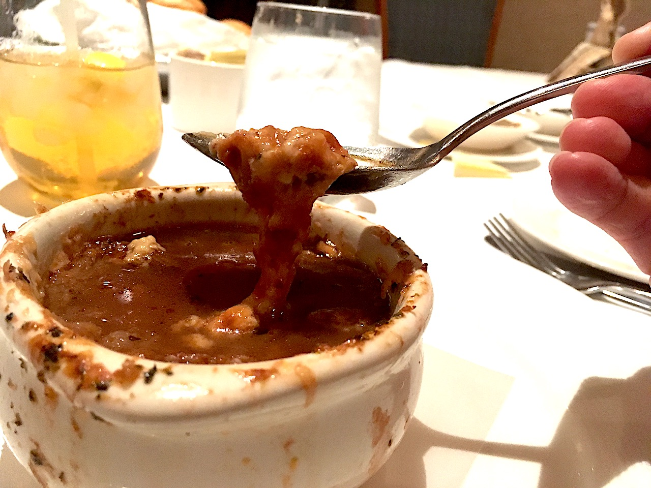 French Onion Soup at Lumiere's on board the Disney cruise ships is one of the best onion french soups you'll ever have!
