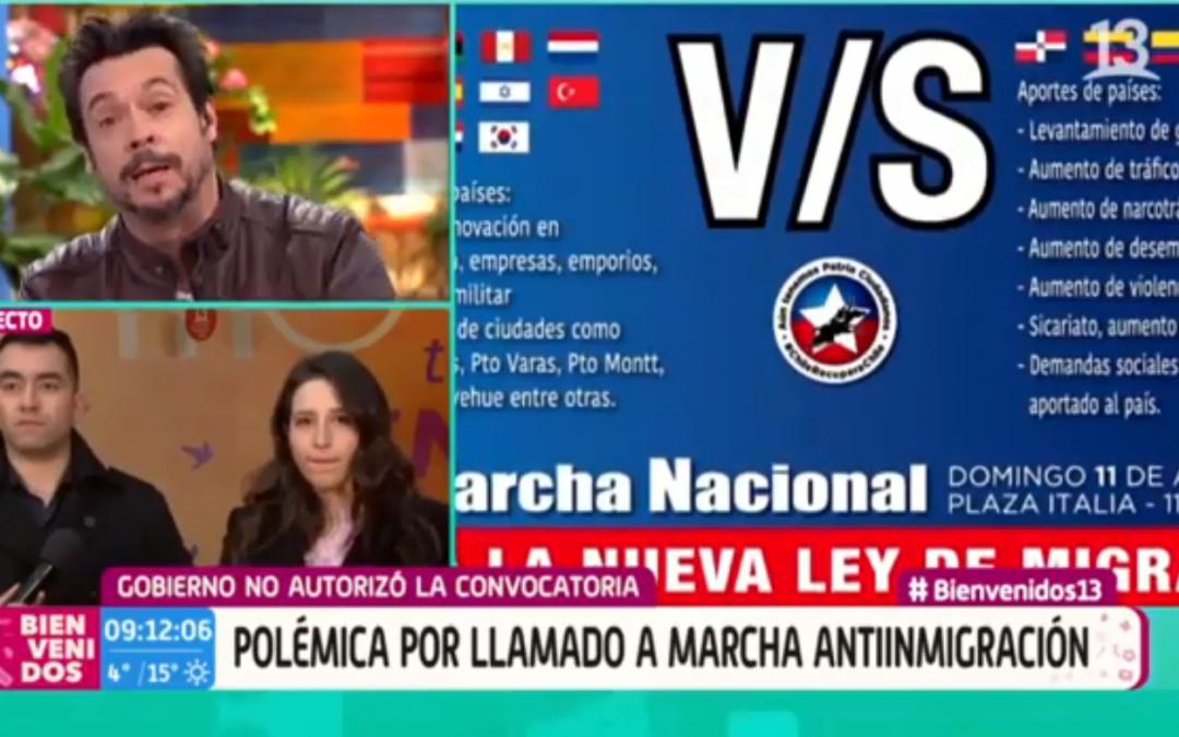 Debate en Matinal Bienvenidos de Canal13 sobre la marcha del 11 de Agosto