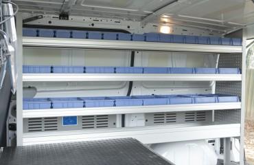 VQuip - Van Transforming Vehicles | Service Van - Shelf Bins