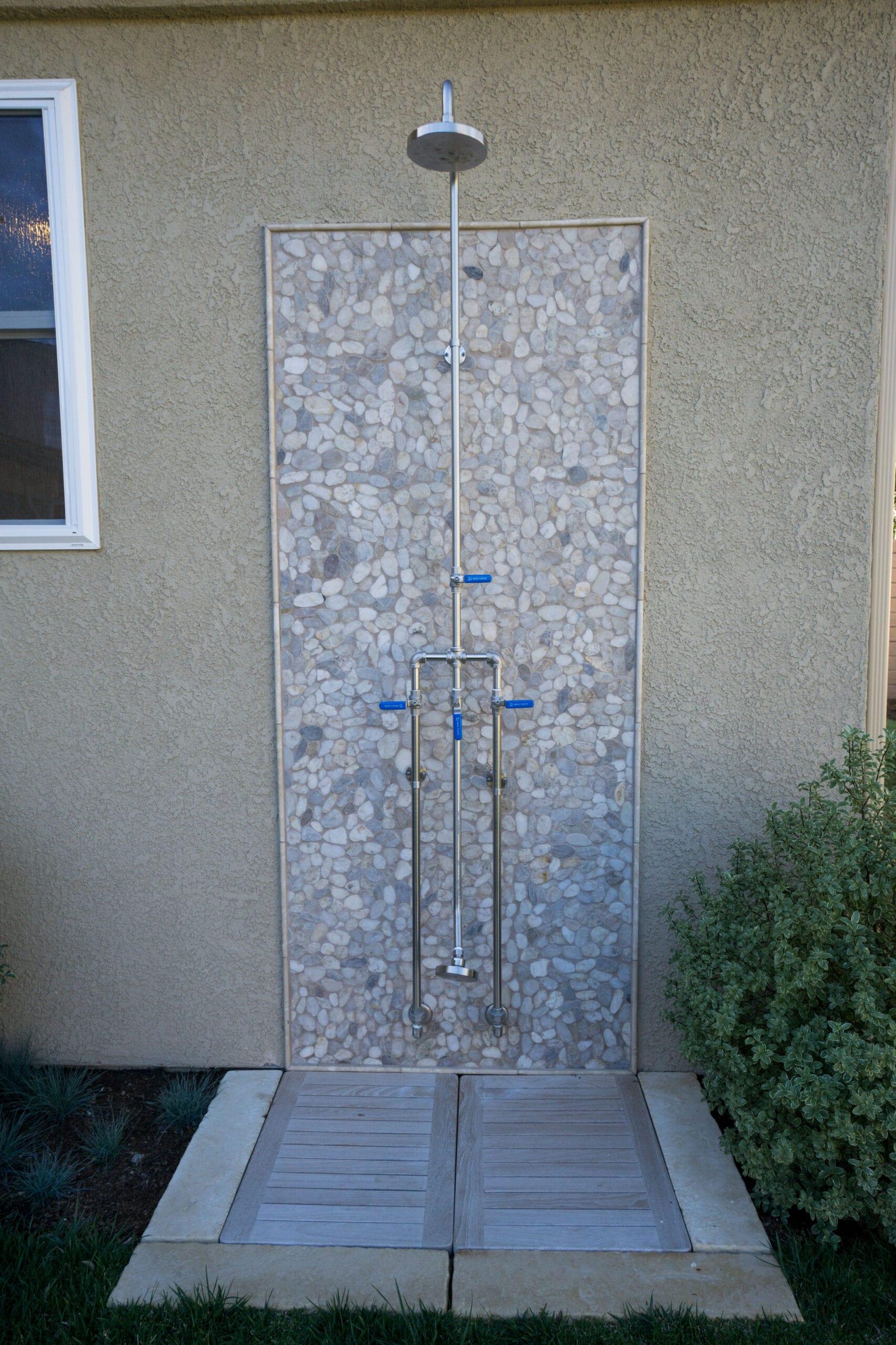 Outside tiled shower