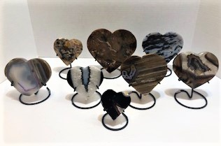 Agate Hearts on Stand