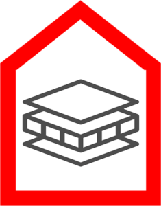 An icon that shows the layers of a roof