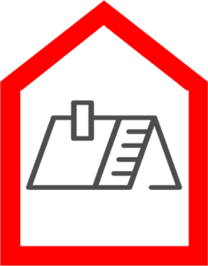 An icon showing a roof that needs repairs and a chimney