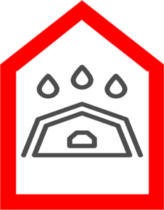 An icon which shows a leaking roof and water coming through the top