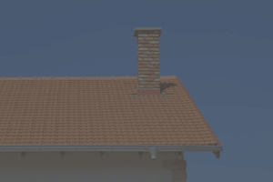 A brick chimney on a tile roof