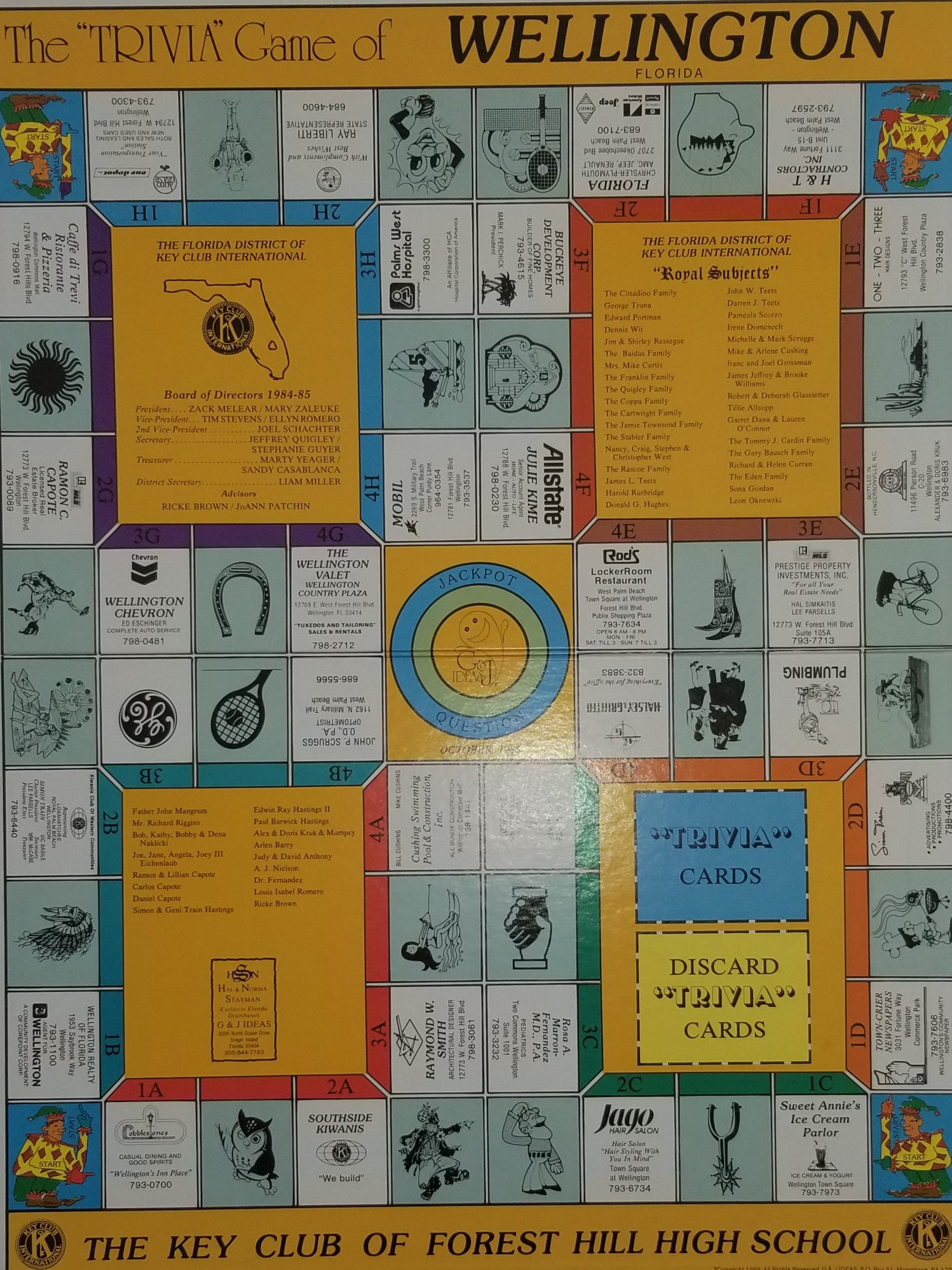 Trivia Game of Wellington created in 1985 by The Key Club of Forest Hill High School