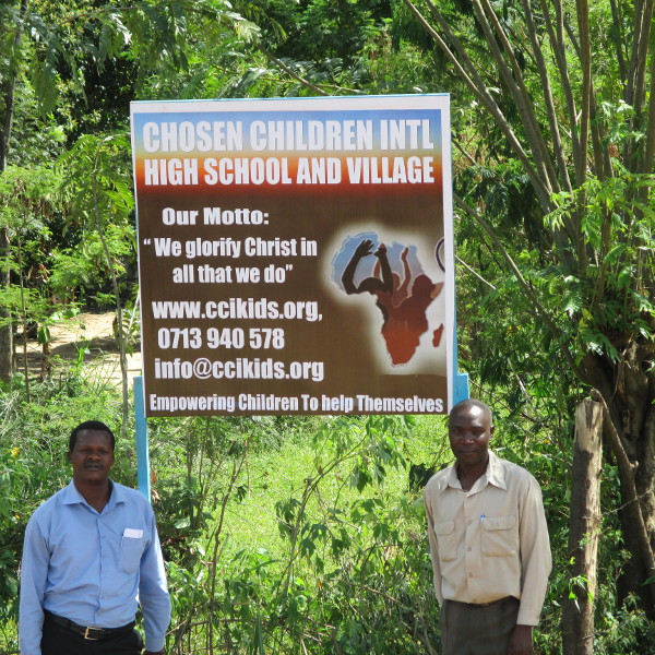 Our sign on the road to our Children's Village.