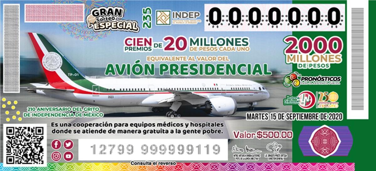 Boleto de Lotería. Avión presidencial