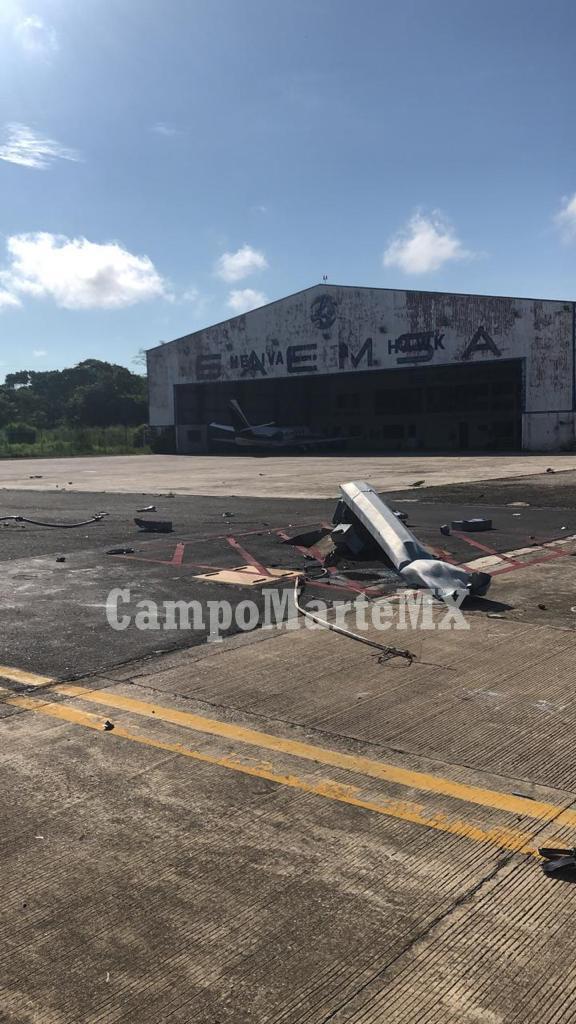 Un helicóptero Mi-17 de la  SEMAR  se accidentó hoy en Villahermosa,