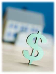 dollar sign with home in background