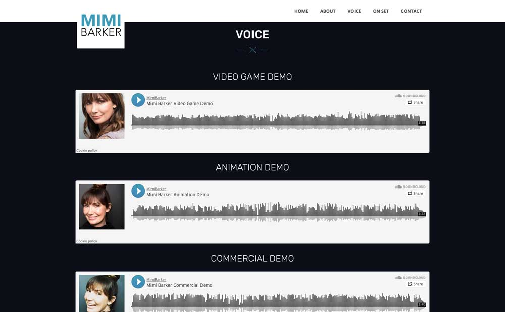 Mimi Barker Website Voice Section
