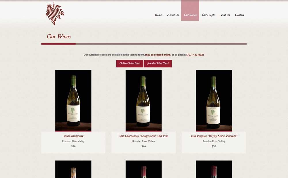 Porter Creek Wines Page