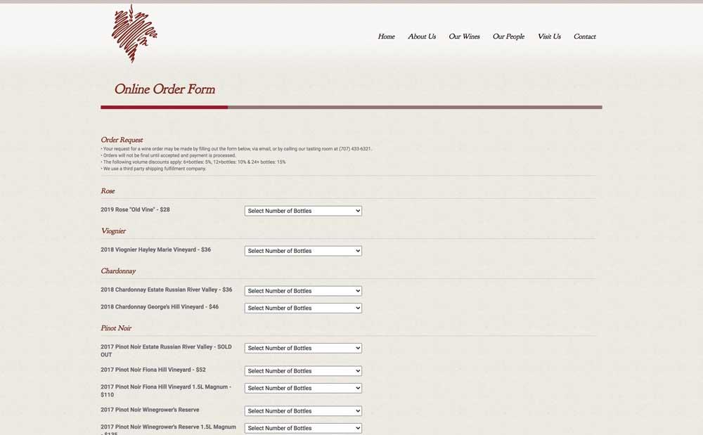 Porter Creek Order Form Page