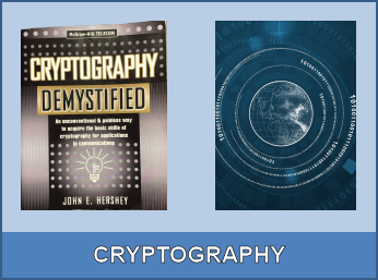 Cryptography services with cover of Hershey's book Cryptography Demystified and world globe surrounded by digital cipher