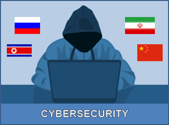Cybersecurity against Hacker & flags of cyber attacking nations - Russia, China, North Korea & Iran