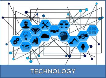 Technology with network and icons for technology areas plus human innovation