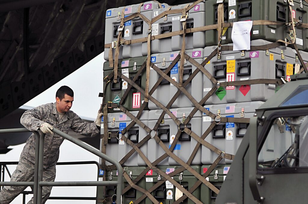 Cargo net for air export goods be loaded on to freight aircraft