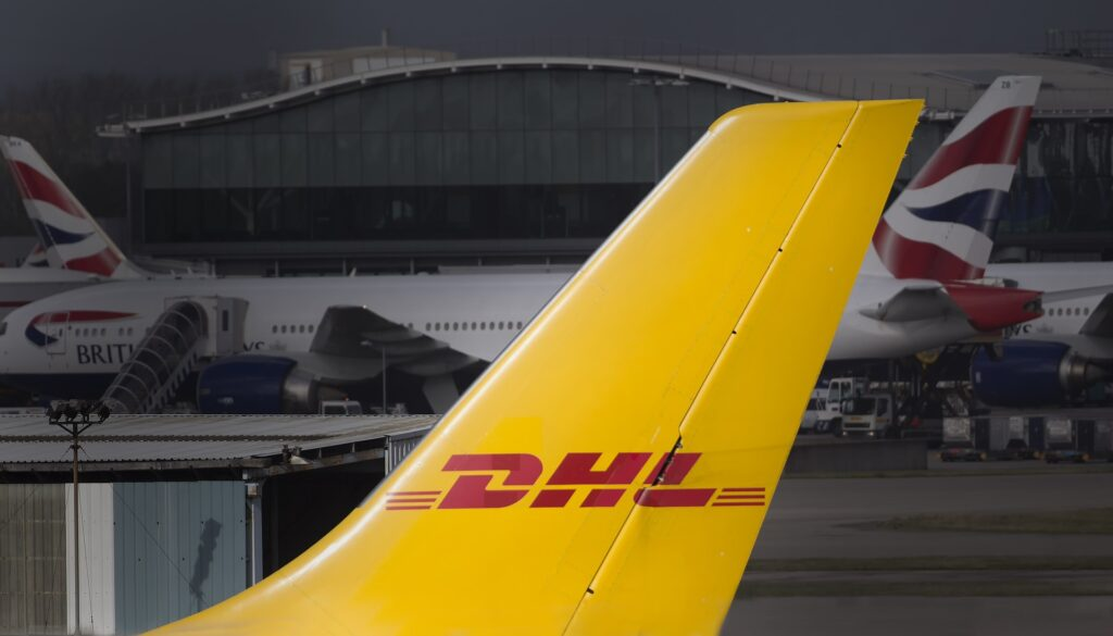 DHL aircraft tail with logo since they are a major worldwide export carrier