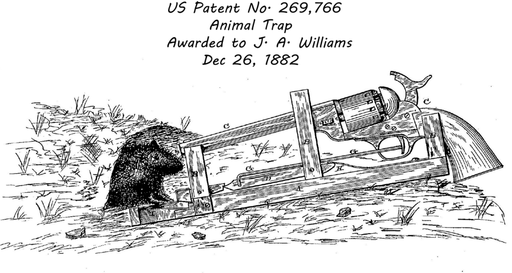Non-useful animal trap patent showing mouse triggering a revolver after taking bait