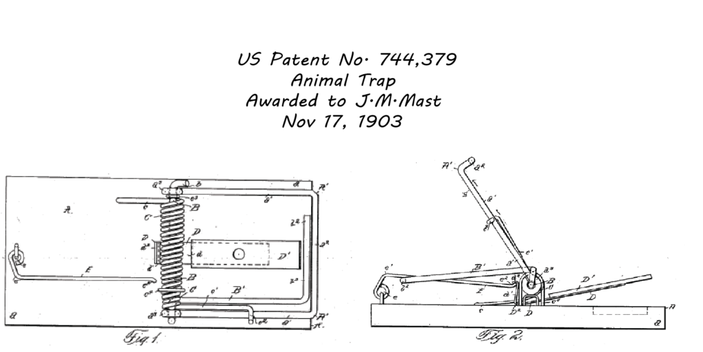 Original mouse trap patent whose design is still identical to today's spring mouse trap