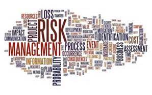 Elements of Risk management in a montage of grouped risk words