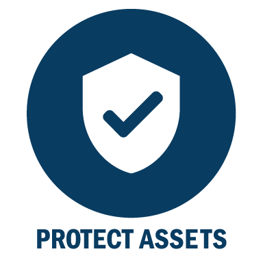 Simple icon with Protect Assets - the true goal of risk management