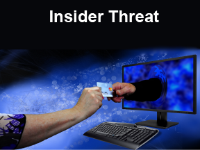 Insider Threat showing remote payoff of insider by outsider with arm through computer monitor